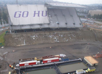 The cantilever roof was removed during stadium demolition, but an updated roof was installed.
