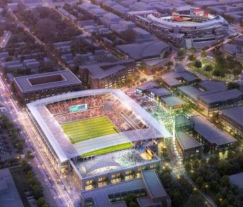 Rendering of new proposed MLS DC United stadium.