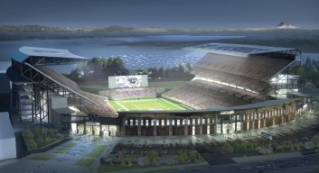 Artistic rendition of the University of Washington's new Husky Stadium